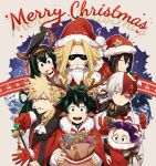 1girl 6+boys :d all_might amajiki_tamaki animalization antlers asui_tsuyu bakugou_katsuki bell bird black_hair blonde_hair blue_eyes boku_no_hero_academia cape character_request christmas crow fake_facial_hair fake_mustache fur-trimmed_cape fur_trim gift_bag gingerbread_man gloves green_eyes green_hair hair_between_eyes hand_on_another's_shoulder hat heterochromia highres jingle_bell liyuchen1126 long_hair looking_at_another looking_at_viewer merry_christmas midoriya_izuku mineta_minoru multicolored_hair multiple_boys open_mouth pointy_ears purple_hair red_cape red_eyes red_gloves redhead reindeer_antlers santa_costume santa_hat short_hair smile todoroki_shouto two-tone_hair v wand white_hair yagi_toshinori