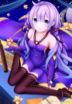1girl arm_support artist_name azur_lane bangs bare_shoulders black_ribbon blue_eyes blush breasts character_name collarbone commentary_request copyright_name cosplay dress elbow_gloves eyebrows_visible_through_hair gloves hair_between_eyes hair_ribbon halterneck highres long_hair looking_at_viewer medium_breasts paper parted_lips partly_fingerless_gloves purple_dress purple_gloves purple_hair ribbon sitting sky solo star_(sky) starry_sky telescope unicorn_(azur_lane) very_long_hair vocaloid wariza xingchen xingchen_(cosplay) yumeno_s