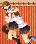 2girls ;> arms_around_waist bangs black_legwear blue_footwear blush brown_eyes brown_footwear brown_hair brown_skirt ears_visible_through_hair hachiko_(hati12) hug looking_at_viewer multiple_girls one_eye_closed open_mouth original patterned_background pleated pleated_skirt ponytail school_uniform short_hair short_sleeves skirt socks yuri
