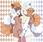 2girls :d alola_form alolan_vulpix alternate_costume argyle argyle_background black_hair blonde_hair blue_eyes braid brown_hoodie closed_mouth cowboy_shot eyebrows eyelashes facing_another from_side furrowed_eyebrows gen_1_pokemon gen_7_pokemon green_eyes hand_holding hand_on_another's_back highres hood hood_up hoodie interlocked_fingers lillie_(pokemon) long_hair long_sleeves looking_at_viewer midoko mizuki_(pokemon) multiple_girls open_mouth pocket pokemon pokemon_(creature) pokemon_(game) pokemon_sm short_hair smile standing teeth tongue twin_braids vulpix white_hoodie