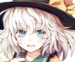 1girl :d bangs black_hat blue_eyes collared_shirt commentary dise eyebrows_visible_through_hair eyelashes face finger_gun hat highres komeiji_koishi light_blush looking_at_viewer open_mouth shirt short_hair simple_background smile solo touhou white_background white_eyelashes white_hair yellow_shirt