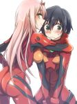 1boy 1girl ass bangs black_hair blue_eyes blush bodysuit breasts commentary_request cosplay couple darling_in_the_franxx evangelion:_3.0_you_can_(not)_redo eyebrows_visible_through_hair green_eyes hand_on_another's_neck herozu_(xxhrd) hetero hiro_(darling_in_the_franxx) horns large_breasts long_hair looking_back neon_genesis_evangelion oni_horns pilot_suit pink_hair plugsuit rebuild_of_evangelion red_bodysuit red_horns short_hair souryuu_asuka_langley souryuu_asuka_langley_(cosplay) sweatdrop zero_two_(darling_in_the_franxx)