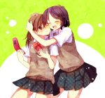 2girls bangs black_hair blush bow brown_eyes brown_hair brown_vest cellphone closed_eyes closed_mouth hachiko_(hati12) hand_on_another's_head happy holding holding_cellphone holding_phone hug looking_at_viewer multiple_girls open_mouth original phone plaid red_bow red_neckwear school_uniform shirt short_hair short_sleeves simple_background skirt smile sweater_vest vest white_shirt yuri