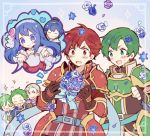 1girl abel_(fire_emblem) armor artist_request blue_eyes blue_hair blush bouquet bridal_veil bride cain_(fire_emblem) draug_(fire_emblem) dress elbow_gloves fingerless_gloves fire_emblem fire_emblem:_monshou_no_nazo fire_emblem_heroes flower gloves gordon_(fire_emblem) green_eyes green_hair horse jagen long_hair male_focus marth multiple_boys open_mouth pegasus_knight sheeda short_hair smile tuxedo veil weapon wedding_dress