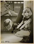 1girl gloves gundam headwear_removed helmet helmet_removed highres leotard mecha mobile_suit_gundam monochrome pilot_suit sayla_mass sepia short_hair short_sleeves solo squatting suzushiro_(suzushiro333)