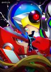 2boys android angry blonde_hair blue_eyes capcom clenched_teeth gloves green_eyes helmet highres long_hair male_focus multiple_boys no-rishio open_mouth power_armor red_gloves rockman rockman_x rockman_x2 serious teeth x_(rockman) zero_(rockman)