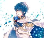 1boy artist_request blue_eyes blue_hair fire_emblem fire_emblem:_monshou_no_nazo fire_emblem_heroes flower formal gloves groom looking_at_viewer male_focus marth short_hair simple_background smile suit tiara tuxedo