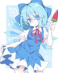 (9) 1girl absurdres ayakabu blue_eyes blue_hair bow cirno food hair_between_eyes hair_bow highres looking_at_viewer popsicle short_hair skirt_hold solo touhou watermelon_bar