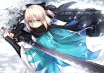 1girl ahoge arm_guards black_bow black_scarf bow covered_mouth fate/grand_order fate_(series) hair_bow half_updo haori holding holding_sword holding_weapon japanese_clothes katana kimono koha-ace okita_souji_(fate) sash scarf shiguru shinsengumi short_kimono snow snowing solo sword upper_body weapon