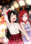 2girls :o ^_^ alternate_hair_length alternate_hairstyle arm_up black_hair bow bowtie closed_eyes collared_shirt commentary_request dress hair_bow hair_down hairband hand_holding highres lantern long_hair long_sleeves love_live! love_live!_school_idol_project multiple_girls night nishikino_maki open_mouth outdoors paper_lantern plaid plaid_skirt pointing pointing_up purple_dress red_bow red_skirt redhead rurika_seijin shirt skirt smile white_neckwear white_shirt yazawa_nico younger