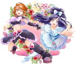 2girls :d ;d bangs bike_shorts black_capelet black_gloves black_shorts blue_eyes bow bowtie breasts brown_hair capelet collarbone crop_top cure_black cure_white detached_sleeves dress earrings fingerless_gloves floating_hair flower futari_wa_precure gloves hair_bow hand_holding heart heart_earrings hibiscus highres jewelry leg_warmers long_hair looking_at_viewer mepple midriff mipple misumi_nagisa multiple_girls navel one_eye_closed open_mouth outstretched_arm parted_bangs pink_bow ponytail precure purple_hair red_flower short_hair short_shorts shorts simple_background small_breasts smile stomach very_long_hair white_background white_bow white_dress yellow_eyes yukishiro_honoka yuutarou_(fukiiincho)