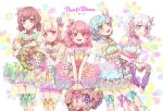 5girls :d alternate_hairstyle ankle_lace-up aqua_hair bang_dream! bangs blonde_hair bloomers blue_eyes blue_ribbon bow brown_hair butterfly_hair_ornament commentary_request cross-laced_footwear detached_collar detached_sleeves dress earrings green_eyes green_ribbon grey_eyes grin group_name hair_ornament heart hikawa_hina holding jewelry long_hair looking_at_viewer maruyama_aya minato_(mintoo11) multicolored multicolored_bow multicolored_clothes multicolored_dress multiple_girls open_mouth pastel_palettes pink_eyes pink_hair pink_ribbon purple_ribbon ribbon shirasagi_chisato short_hair smile star star_hair_ornament twintails underwear violet_eyes wakamiya_eve wavy_hair white_hair wreath wrist_cuffs yamato_maya yellow_ribbon