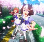 2girls absurdres animal_ears bag bangs blunt_bangs brown_hair cherry_blossoms ear_covers eyebrows_visible_through_hair green_eyes hair_ornament hairband hairpin highres holding_hand horse_ears horse_tail long_hair multicolored_hair multiple_girls official_art open_mouth orange_hair pleated_skirt school_uniform short_hair sidewalk silence_suzuka skirt special_week tail thigh-highs two-tone_hair umamusume violet_eyes zettai_ryouiki