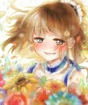 1girl arle_nadja blue_dress blue_headband blush brown_hair commentary_request crying crying_with_eyes_open dress eyebrows_visible_through_hair flower frilled_straps full-face_blush half_updo highres looking_at_viewer puyopuyo rain_(leying2626) short_hair sketch_eyebrows solo sunflower tears upper_body yellow_flower