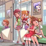 6+girls aisaki_emiru backpack bag bike_shorts blush bottle bow bowtie brown_eyes brown_hair commentary dated dokidoki!_precure dress forehead frilled_skirt frilled_sleeves frills glasses green_shirt hair_bow handbag highres holding holding_bottle hugtto!_precure isedaichi_ken kenzaki_makoto long_hair looking_at_another madoka_aguri miniskirt morimoto_eru multiple_girls nono_kotori orange_hair overalls pink_skirt poster_(object) precure purple_hair randoseru reading red-framed_eyewear red_bow red_dress red_eyes red_neckwear redhead seat shirabe_ako shirt shoe_bow shoes short_hair short_sleeves signature sitting skirt sleeping sleeping_on_person sleeveless suite_precure tablet_pc thick_eyebrows thigh-highs train_interior twintails white_legwear white_shirt yellow_skirt zettai_ryouiki