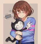 1boy 1other adorable bendy_(character) bendy_and_the_ink_machine blush bookpast caramell0501 closed_eyes crossover devil frisk_(undertale) hug human joey_drew_studios kid shirt short_hair smile striped striped_shirt themealty toby_fox_(publisher) undertale
