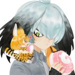 2girls animal_ears bangs chibi commentary_request extra_ears eyebrows_visible_through_hair food frost_fog frown green_eyes grey_hair head_wings heart japari_bun kemono_friends looking_at_another minigirl multiple_girls necktie serval_(kemono_friends) serval_ears serval_tail shoebill_(kemono_friends) simple_background sitting_on_shoulder tail white_background
