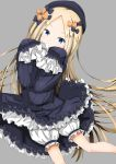 1girl abigail_williams_(fate/grand_order) bangs black_bow black_dress black_hat blonde_hair bloomers blue_eyes bow commentary_request covered_mouth dress eyebrows_visible_through_hair fate/grand_order fate_(series) forehead grey_background hair_bow hands_up hat highres long_hair long_sleeves luluhavinera orange_bow parted_bangs simple_background sleeves_past_fingers sleeves_past_wrists solo underwear v-shaped_eyebrows very_long_hair white_bloomers