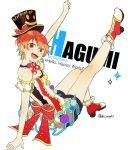 1girl :d back_bow bang_dream! black_hat boots bow bowtie breasts brown_eyes character_name cleavage eyebrows_visible_through_hair group_name hair_between_eyes hat hat_bow headwear_writing high_heel_boots high_heels kitazawa_hagumi leg_up looking_at_viewer open_mouth orange_hair polka_dot_neckwear pom_pom_(clothes) print_hat raised_fist red_bow red_neckwear shi_noyuki short_hair sitting small_breasts smile smiley_face solo top_hat twitter_username upper_teeth white_background