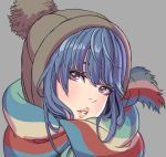 1girl bangs beanie blue_hair brown_hat fringe grey_background hair_bun hat head_tilt highres lips looking_at_viewer parted_lips portrait scarf shima_rin simple_background solo striped striped_scarf violet_eyes yamashita_shun'ya yurucamp