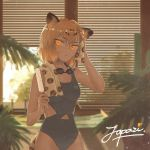 0x3 1girl alternate_costume animal_ears bare_shoulders blonde_hair dripping fern food goggles jaguar_(kemono_friends) jaguar_ears jaguar_print jaguar_tail kemono_friends multicolored_hair one-piece_swimsuit popsicle short_hair signature solo swimsuit tail towel wet
