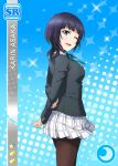 asaka_karin blue_eyes blue_hair blush character_name love_live!_school_idol_festival seifuku short_hair smile wink