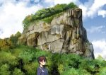 1girl backpack bag blue_sky blue_sweater brown_eyes brown_hair clouds cloudy_sky commentary_request day forest highres kaga_(kantai_collection) kantai_collection long_sleeves looking_at_viewer masukuza_j mountain nature outdoors ribbed_sweater short_hair sky solo sweater