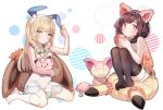 2girls animal_ears black_hair black_legwear blonde_hair braid cat_ears clefairy cup dress eevee floral_print flower gen_1_pokemon gen_3_pokemon green_eyes highres lillie_(pokemon) long_hair mizuki_(pokemon) mug multiple_girls orange_shirt pikachu pokemon pokemon_(creature) pokemon_(game) pokemon_usum rabbit_ears shirt short_hair sitting skitty sleeveless sleeveless_dress stuffed_toy tank_top twin_braids white_dress white_legwear zuizi