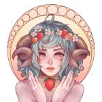 1girl ahoge androgynous animal_ears blue_hair blush commentary flower freckles hair_flower hair_ornament hands_up head_wreath horns lips looking_at_viewer nude original parted_lips shari_cote sheep_ears sheep_girl sheep_horns short_hair solo white_flower