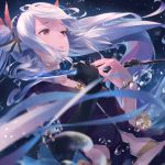 1girl black_gloves blue_hair bracelet character_request commentary_request elbow_gloves floating_hair flower gloves grimms_notes hair_flower hair_ornament hands_up highres holding holding_weapon jewelry long_hair parted_lips pink_eyes purple_vest single_glove solo sousou_(sousouworks) tears twintails very_long_hair vest weapon