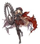1girl armor armored_boots armored_dress blonde_hair boots cape chains foothold_trap full_body gauntlets highres jewelry jino little_red_riding_hood_(sinoalice) long_hair looking_at_viewer official_art orange_eyes ring sinoalice skirt solo standing standing_on_one_leg torn_cape transparent_background