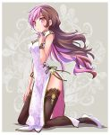1girl black_legwear breasts brown_hair china_dress chinese_clothes dress finger_to_mouth full_body hand_on_own_thigh high_heels highres iesupa kneeling long_hair medium_breasts multicolored_hair neo_(rwby) pelvic_curtain pink_eyes pink_hair rwby side_slit solo thigh-highs two-tone_hair white_dress wristband