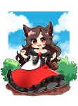 1girl animal_ears bare_shoulders basket blush_stickers brooch brown_hair chibi clouds commentary day dress full_body hands_up highres imaizumi_kagerou jewelry long_hair looking_at_viewer off-shoulder_shirt off_shoulder open_mouth outdoors red_dress red_eyes shirt smile solo surigoma touhou white_shirt wolf_ears