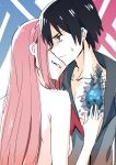 1boy 1girl black_hair blue_eyes breast_grab breasts chest_scar commentary_request couple darling_in_the_franxx grabbing hand_on_another's_chest hetero highres hiro_(darling_in_the_franxx) long_hair military military_uniform nude open_clothes pink_hair pink_x scar short_hair sweatdrop uniform zero_two_(darling_in_the_franxx)