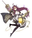 1girl asymmetrical_hair blue_eyes boots braid breasts cleavage_cutout dorothy_(sinoalice) full_body hair_ornament hairclip jino large_breasts long_hair looking_at_viewer messy_hair nurse official_art one_eye_closed purple_hair sinoalice smile solo syringe test_tube transparent_background tube