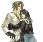 1boy 1girl belt belt_buckle black_eyes black_gloves black_hair black_jacket brown_hair buckle dress final_fantasy final_fantasy_viii gloves hug jacket leather leather_jacket long_hair lowres rinoa_heartilly short_hair squall_leonhart sweatdrop
