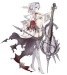 1girl blood bloody_clothes blue_eyes bow_(instrument) breasts cello flower full_body high_heels instrument jino midriff navel official_art revealing_clothes ribbon rose side_ponytail sinoalice small_breasts snow_white_(sinoalice) solo thigh-highs tiara transparent_background white_hair