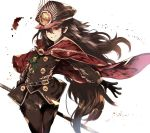 1girl bangs belt_buckle black_belt black_gloves black_hat black_jacket black_pants blush brown_eyes brown_hair buckle cape closed_mouth commentary_request eyebrows_visible_through_hair family_crest fate/grand_order fate_(series) gloves hair_between_eyes hat jacket katana koha-ace long_hair long_sleeves looking_at_viewer military_hat oda_nobunaga_(fate) oda_uri outstretched_arm pants peaked_cap red_cape smile solo sword thigh_gap venomrobo very_long_hair weapon white_background