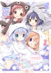 4girls :d ahoge angora_rabbit animal_hood blue_eyes blue_shirt blue_shorts blush boots bow brown_eyes brown_hood bunny_hood cat_hood gochuumon_wa_usagi_desu_ka? hair_ornament hand_on_another's_shoulder hood hoto_cocoa jouga_maya kafuu_chino light_blue_hair long_hair looking_at_viewer looking_back low_twintails multiple_girls nanase_miori natsu_megumi one_eye_closed open_mouth outstretched_arm pink_bow pink_hair pink_shirt pink_shorts purple_background purple_hair rabbit red_eyes redhead shirt short_hair shorts smile star starry_background tippy_(gochiusa) twintails violet_eyes white_footwear white_hood white_legwear x_hair_ornament yellow_footwear yellow_legwear yellow_shirt yellow_shorts