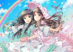 2girls :d aircraft airplane black_hair blue_sky braid brown_hair claris_(group) clouds day dress frills green_eyes green_nails hat hug hug_from_behind long_hair looking_at_viewer multiple_girls nail_polish open_mouth pechikaharine petals pink_hat rainbow scrunchie sky smile standing white_dress wrist_scrunchie