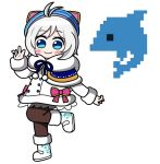 1girl animal_ears animal_hat antenna_hair bangs blue_capelet blue_eyes blue_hat blush brown_legwear capelet cat_ears cat_hat closed_mouth coat commentary_request dennou_shoujo_youtuber_shiro dolphin eyebrows_visible_through_hair fakkuma fur-trimmed_boots fur-trimmed_capelet fur-trimmed_coat fur-trimmed_sleeves fur_trim hat long_sleeves pantyhose pixel_art shiro_(dennou_shoujo_youtuber_shiro) silver_hair simple_background smile solo standing standing_on_one_leg virtual_youtuber white_background white_coat white_footwear