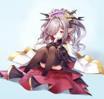 1girl bangs black_dress black_legwear blue_background blush brown_hair cape closed_mouth commentary_request dress gloves granblue_fantasy hair_ornament hair_over_one_eye hair_stick harvin hat high_ponytail long_hair long_sleeves looking_at_viewer nio_(granblue_fantasy) pointy_ears ponytail purple_hat red_eyes sitting smile solo thigh-highs very_long_hair white_cape white_gloves yuya_(night_lily)