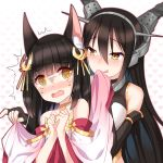 2girls @_@ animal_ears azur_lane bangs bare_shoulders black_gloves black_hair blush commentary_request crossover crying crying_with_eyes_open elbow_gloves eyebrows_visible_through_hair female_pervert gloves hair_between_eyes hair_ornament head_tilt headgear heart heart_background highres kantai_collection licking_lips long_hair long_sleeves multiple_girls nagato_(azur_lane) nagato_(kantai_collection) namesake nose_blush open_mouth pervert silver15 sleeveless tears tongue tongue_out very_long_hair wavy_mouth white_background wide_sleeves yellow_eyes yuri
