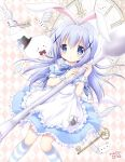 1girl :o alice_(wonderland) alice_(wonderland)_(cosplay) alice_in_wonderland angora_rabbit apron black_hat blue_bow blue_dress blue_eyes blush bow card clock clock_hands cosplay dress gochuumon_wa_usagi_desu_ka? hair_ornament hat heart holding holding_spoon horizontal-striped_legwear key light_blue_dress light_blue_hair looking_at_viewer nanase_miori parted_lips playing_card rabbit rhombus_background solo spade_(shape) spoon striped striped_bow striped_legwear tippy_(gochiusa) top_hat white_apron x_hair_ornament