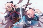 2girls arm_grab bangs black_bow black_jacket black_scarf bow breasts brown_eyes cleavage closed_mouth collarbone commentary_request dark_skin dual_wielding eyebrows_visible_through_hair fate/grand_order fate_(series) hair_between_eyes hair_bow hair_ornament haori highres holding holding_sheath holding_sword holding_weapon jacket japanese_clothes katana kimono koha-ace large_breasts light_brown_hair long_hair long_sleeves looking_away looking_to_the_side multiple_girls obi okita_souji_(alter)_(fate) okita_souji_(fate) okita_souji_(fate)_(all) pantie_painting petals ready_to_draw sash scarf sheath sheathed small_breasts sword tassel v-shaped_eyebrows very_long_hair weapon white_kimono wide_sleeves