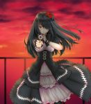 1girl aiming_at_viewer black_hair black_legwear date_a_live dress eyepatch finger_to_mouth flower frilled_dress frills gothic gun hair_flower hair_ornament hair_over_one_eye handgun handrail highres holding holding_gun holding_weapon long_hair outdoors puffy_short_sleeves puffy_sleeves red_eyes red_flower red_rose ribbon-trimmed_dress rose short_sleeves shushing smile solo sunset thigh-highs tokisaki_kurumi uc weapon wristband