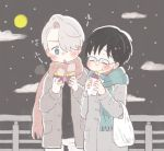 2boys black_hair blue-framed_eyewear blue_eyes closed_eyes coat eating fence food full_moon glasses hair_over_one_eye katsuki_yuuri male_focus moon multiple_boys sakana_(gyogyo33) scarf silver_hair sky star_(sky) starry_sky sweet_potato viktor_nikiforov yuri!!!_on_ice
