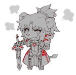 1girl =3 animal_ears armor armored_dress bangs chibi clarent fang fate_(series) full_body lion_ears lion_tail looking_at_viewer mordred_(fate) mordred_(fate)_(all) open_mouth parted_bangs ponytail scrunchie solo sword tail weapon white_background yorukun