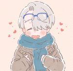 1boy blue-framed_eyewear closed_eyes coat cosplay eyewear_on_head glasses hair_over_one_eye heart katsuki_yuuri katsuki_yuuri_(cosplay) male_focus open_mouth sakana_(gyogyo33) scarf silver_hair smile viktor_nikiforov yuri!!!_on_ice