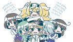 >_< 6+girls black_hair blonde_hair braid brown_hair chaki_(teasets) closed_eyes female_admiral_(kantai_collection) flying_sweatdrops gambier_bay_(kantai_collection) green_hair grey_hair haguro_(kantai_collection) hair_over_eyes hamanami_(kantai_collection) hat highres kantai_collection long_hair military military_uniform multiple_girls naval_uniform open_mouth peaked_cap school_uniform serafuku short_hair tearing_up trait_connection twin_braids twintails uniform upper_body ushio_(kantai_collection) yamakaze_(kantai_collection)